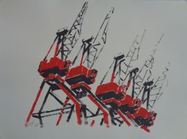 8 grues rouges noires